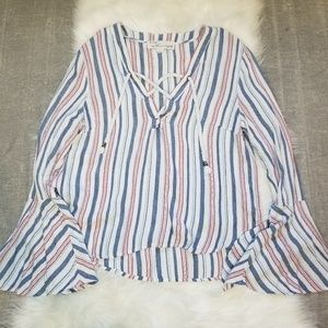 Vintage Havana - Striped flare sleeve blouse